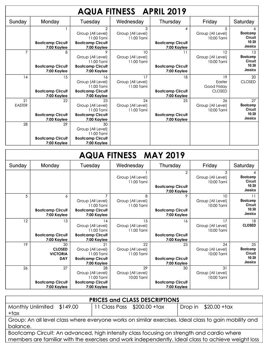 Aqua Fit Calendar 2019 April May